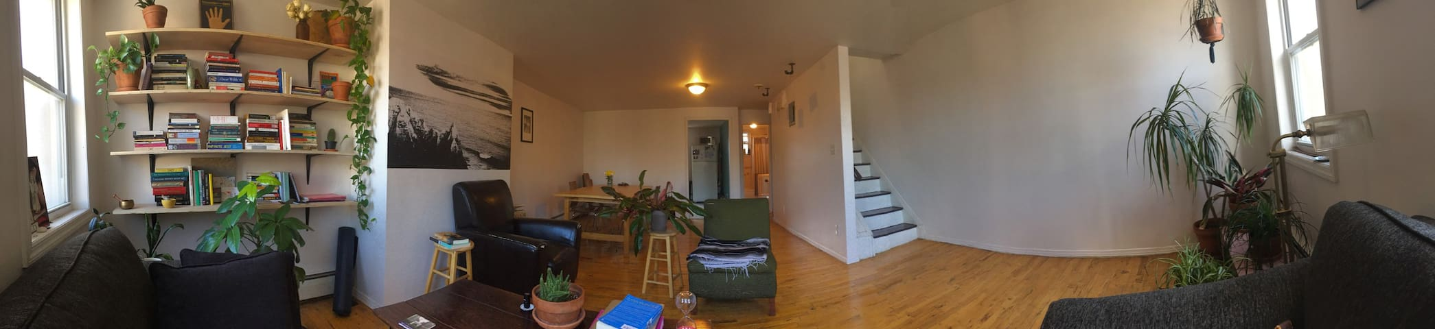 Panorama view of our downstairs from the couch