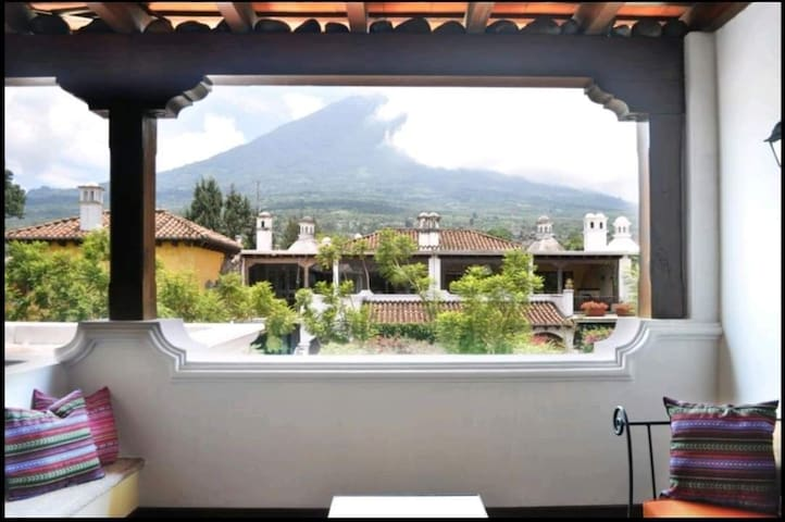 Beautiful terrace view to the volcanoes