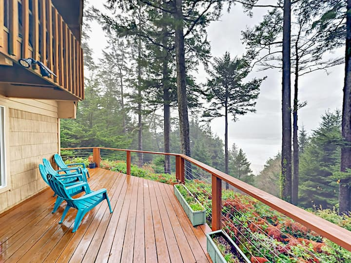 Enjoy Oceanfront Bliss from a Hillside with Sheltering Pines on Otter Rock!