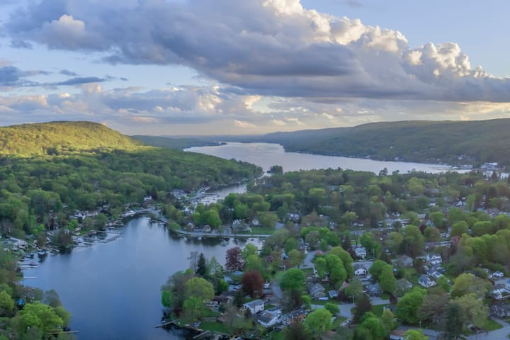 Aerial View of House and Greenwood Lake