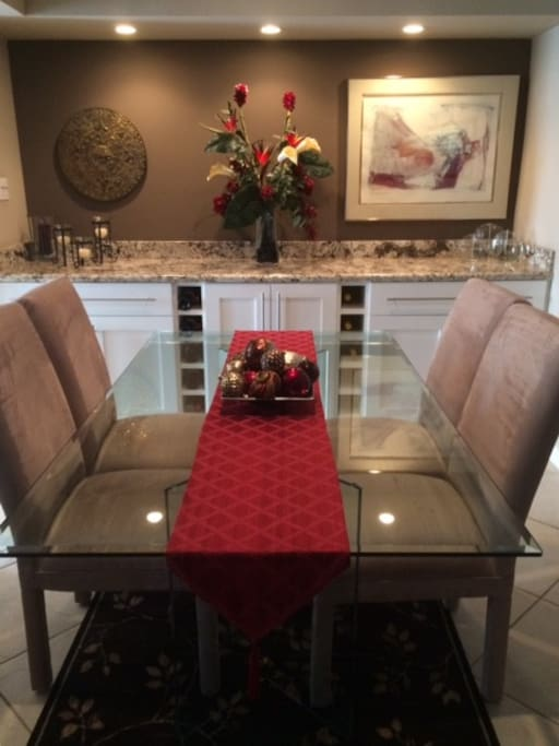 Dining Room seats 6;  8 with card table chairs (available)