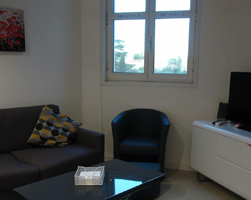 Le salon avec un mobilier contemporain