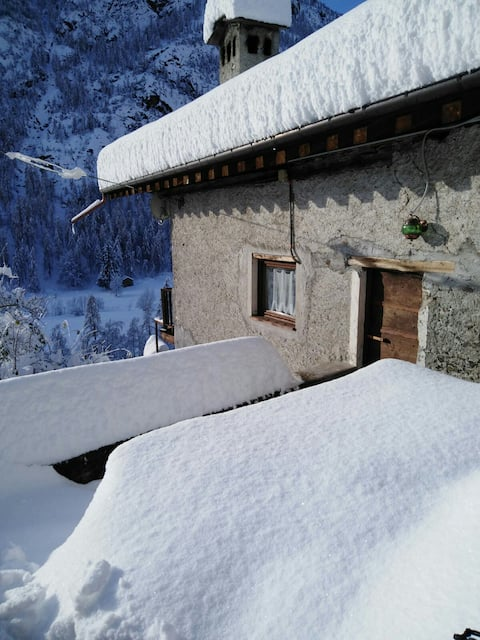 Typical stone alpine chalet