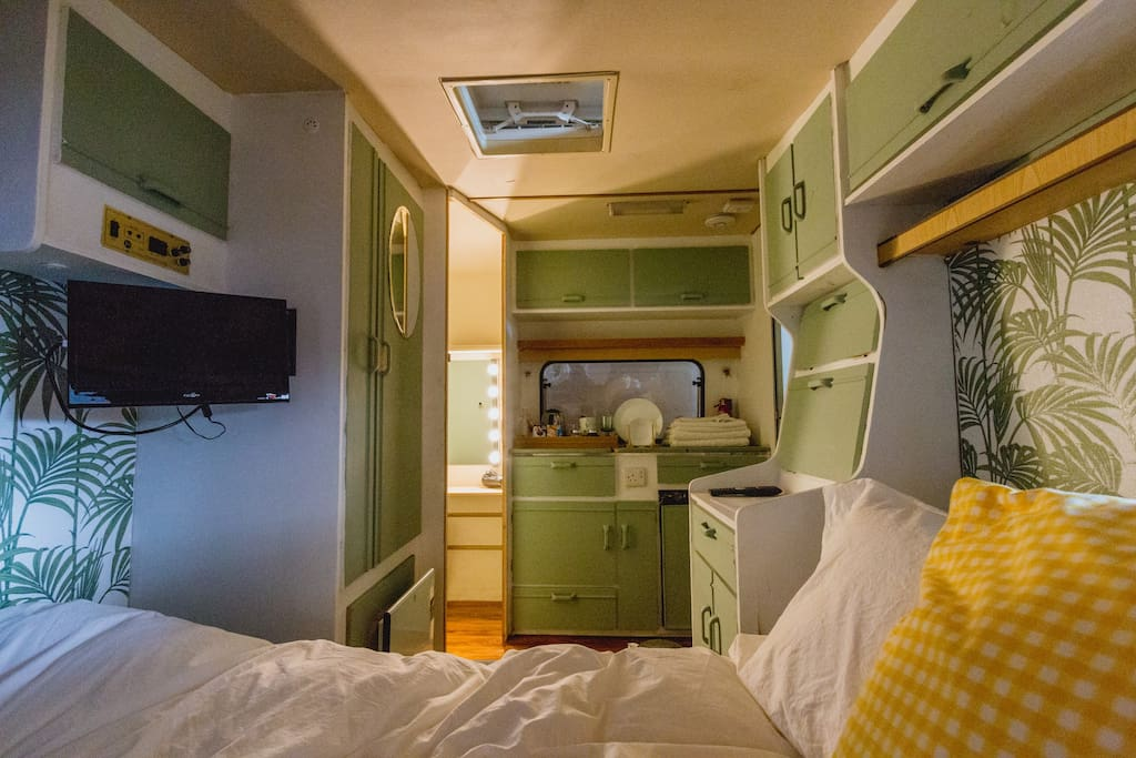 Your Caravan. King Bed. Kitchenette. TV. Dressing Room.