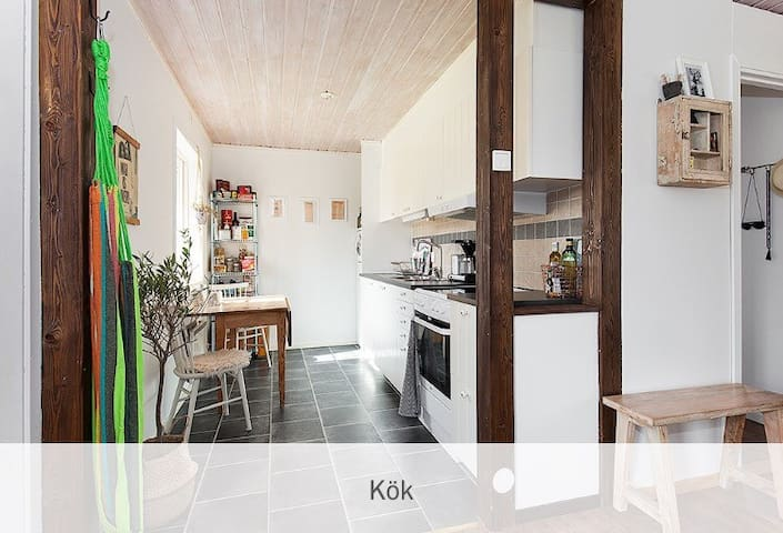 The kitchen is functional and stylish. Oven, stove, coffee machine, pots & Pans and fresh drinkable water.