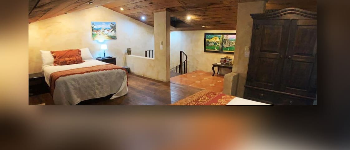 The Mayan Loft has two full beds.