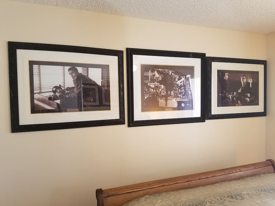 Enjoy these framed movie prints in this one-of-a-kind themed private suite