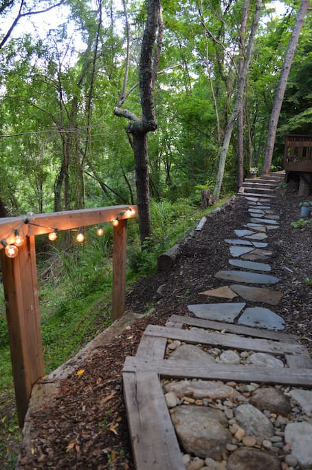 The stone path to a private retreat.