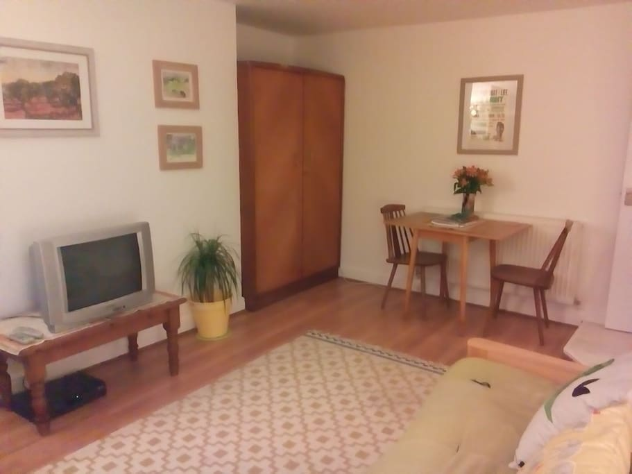 Spacious lounge with TV
