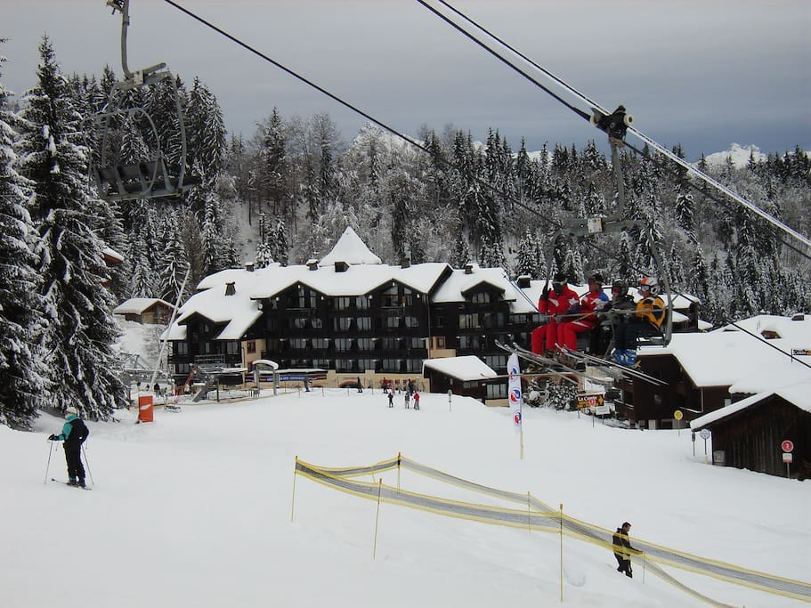 Le Grand Morillon apartment block is on the slopes