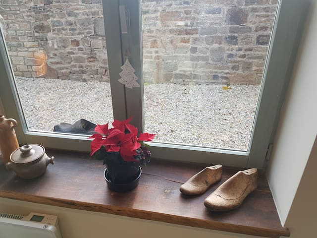 Cobbler's lasts and poinsettia