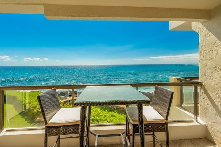 Poipu Shores 206A.Two BR on the sea with heated pool and air conditioning!