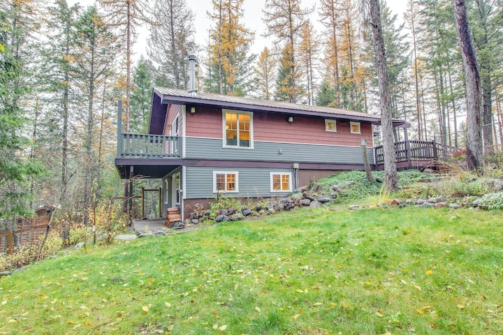 Waterfront dog-friendly home with cozy wood stove, deck, and private pond!