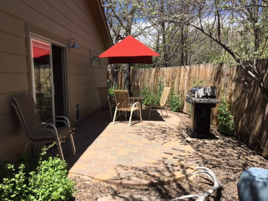 Patio off kitchen, Gas grill and small fountain