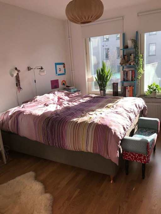 Bedroom 1. Double bed, 160 cm. Possible to sleep two adults.