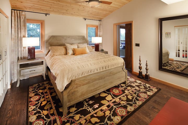 Gorgeous master bedroom suite with private bathroom with walk-in shower.