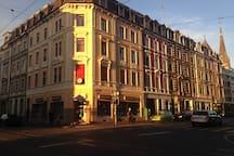The lovely neighborhood in the evening sun.