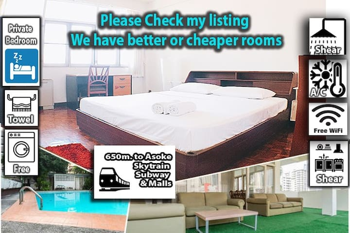 DQ :Private Bedroom, 9min to BTS/MRT Asoke