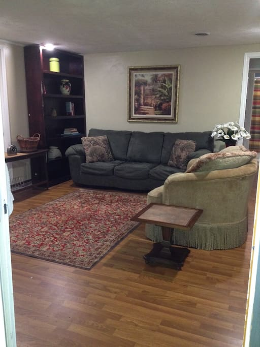 Living Room - Flatscreen TV w/DVD, expanded cable, wifi, plus  sleeper sofa (linens available).