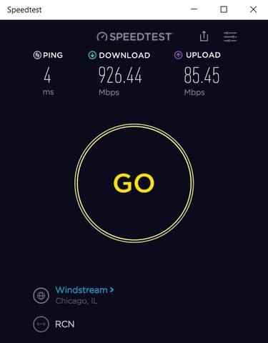Wired internet speed.