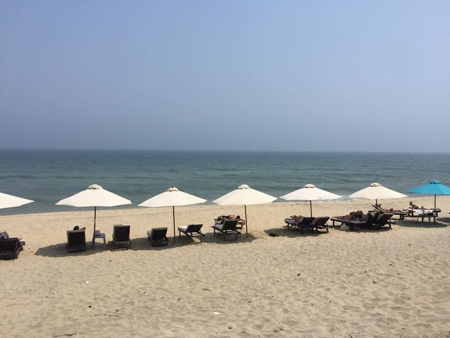 The Tan Thanh Beach about 9m by walk ( private beach with many umbrella and bed) you can sunshine here