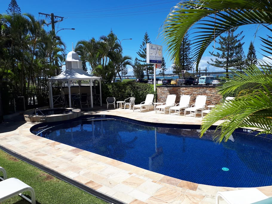 Heated pool and spa with safe beach across the road