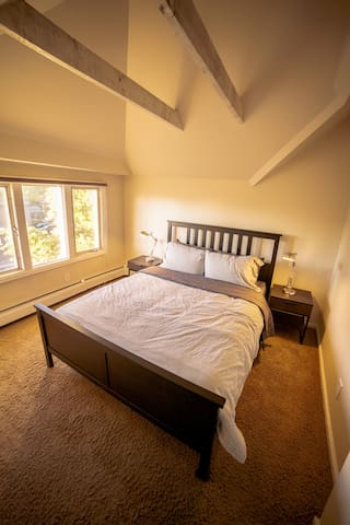 The bedroom, 3rd floor with trees outside!