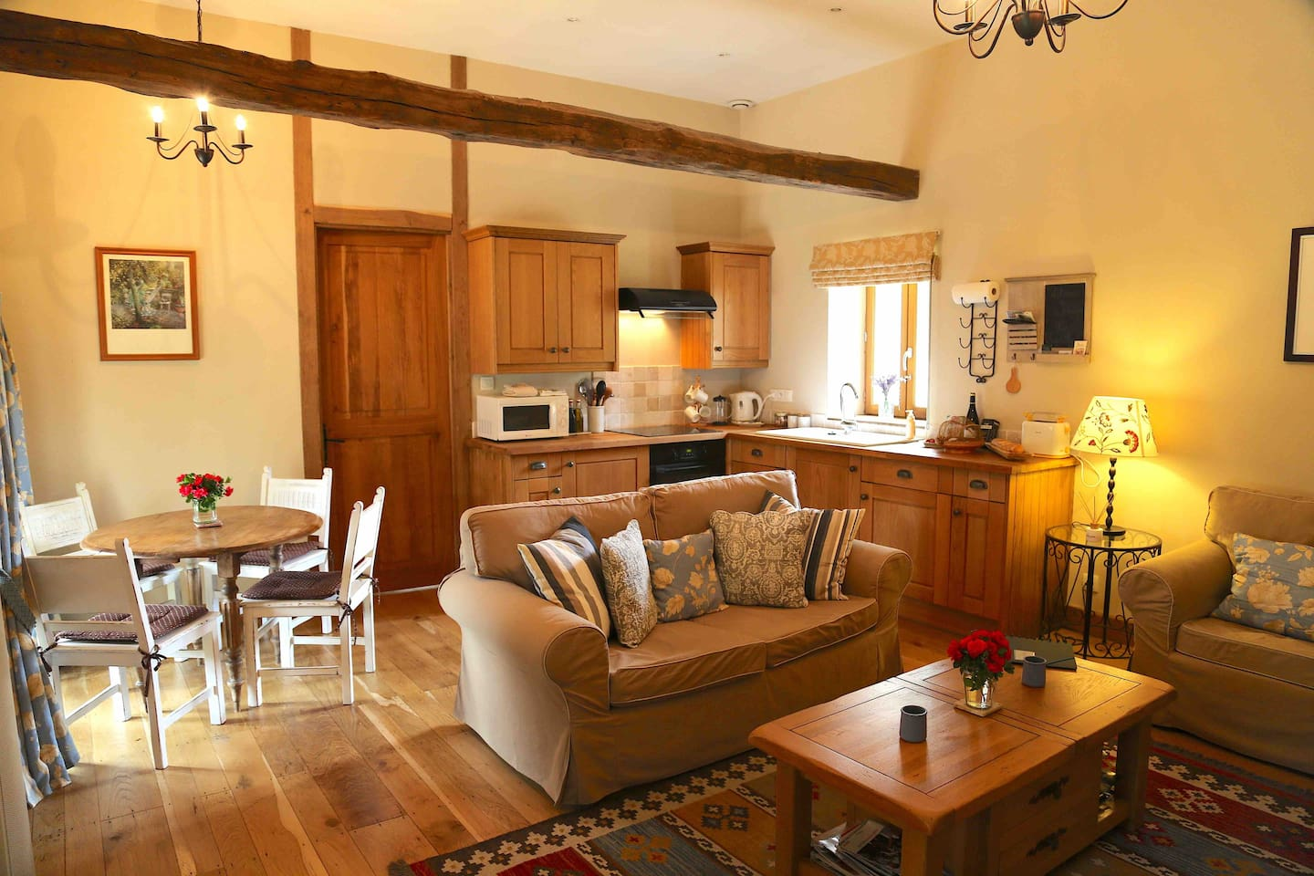 The lounge and kitchen