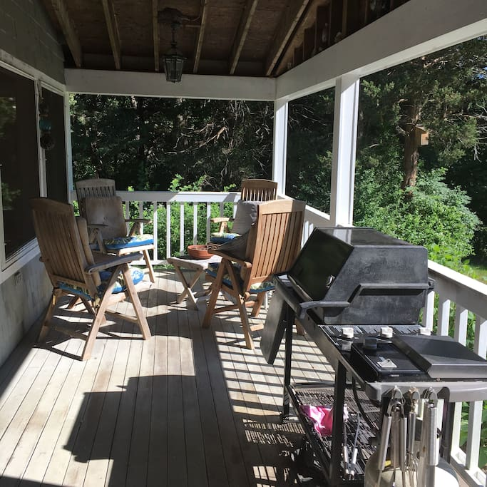 Great porch to enjoy morning coffee and local newspaper