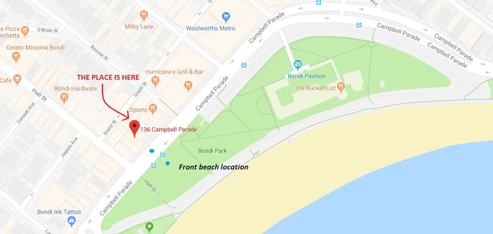 Map of our front beach location