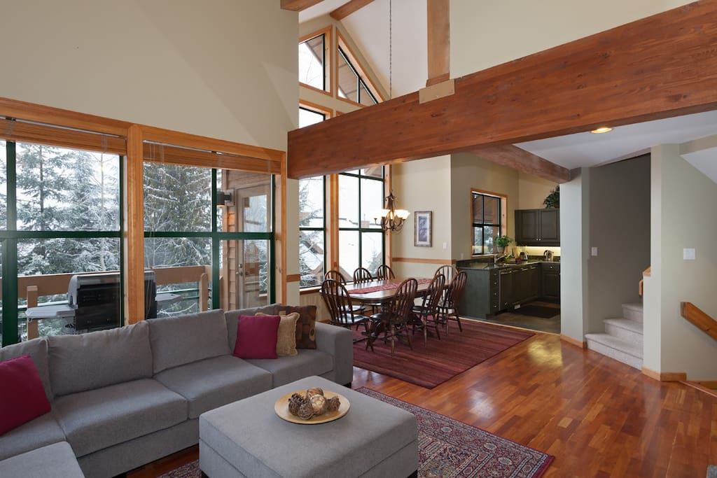 Open plan living and dinning room
