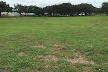 Football/soccer community field at the neighborhood park.