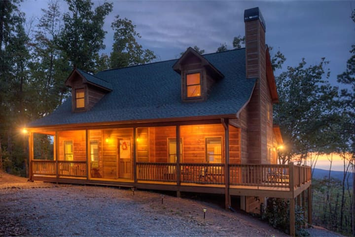 Mountaintop Serenity is a wonderful cabin with hot tub, fire-pit and great view