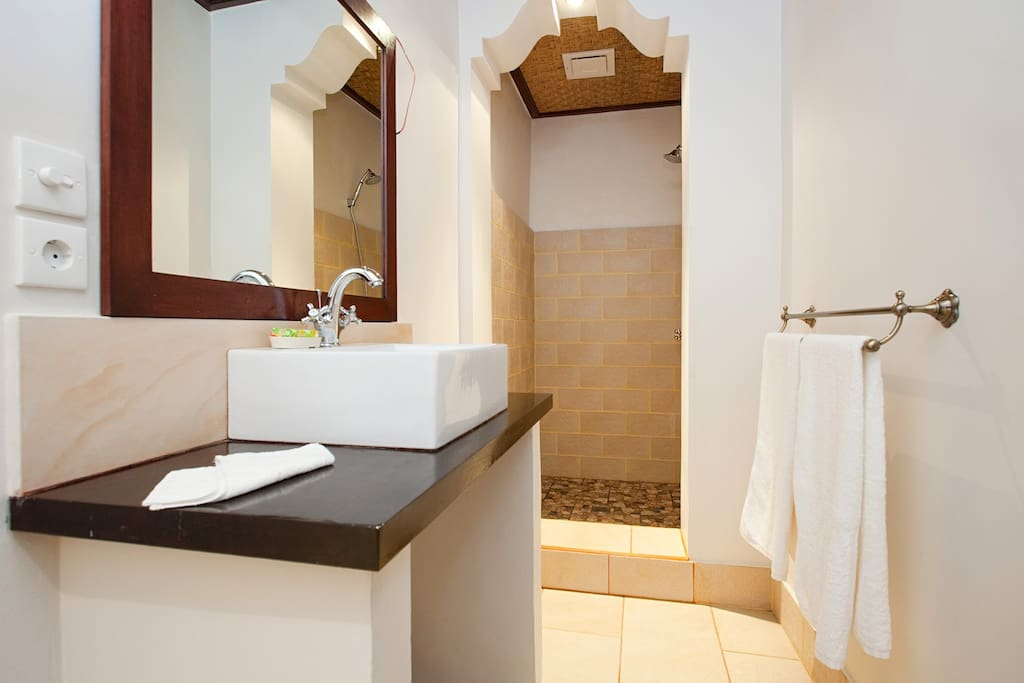 Garden Room Suite #3 bathroom, Deluxe fittings throughout with pressurised hot water and very siufficient lighting