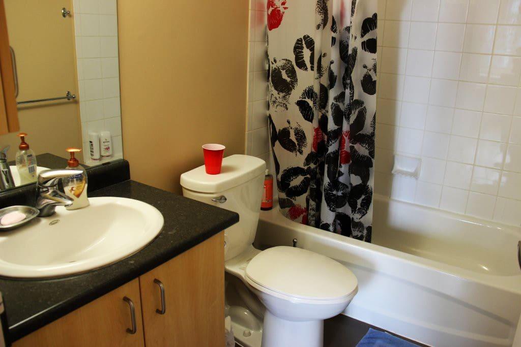 Our bathroom, we keep it reasonably clean.