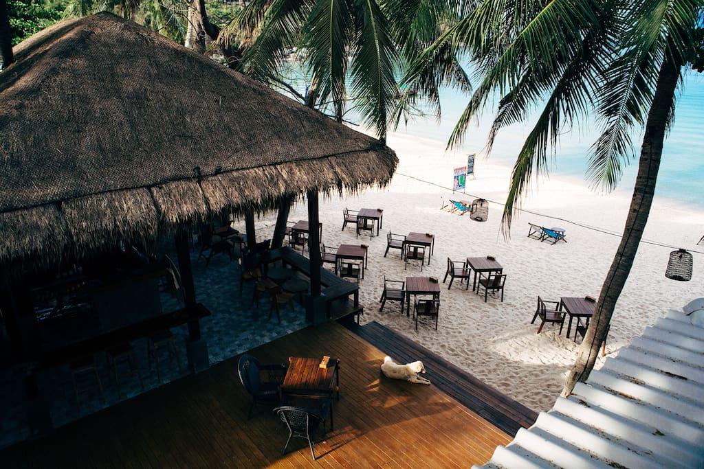 Top view, our beach restaurant & bar