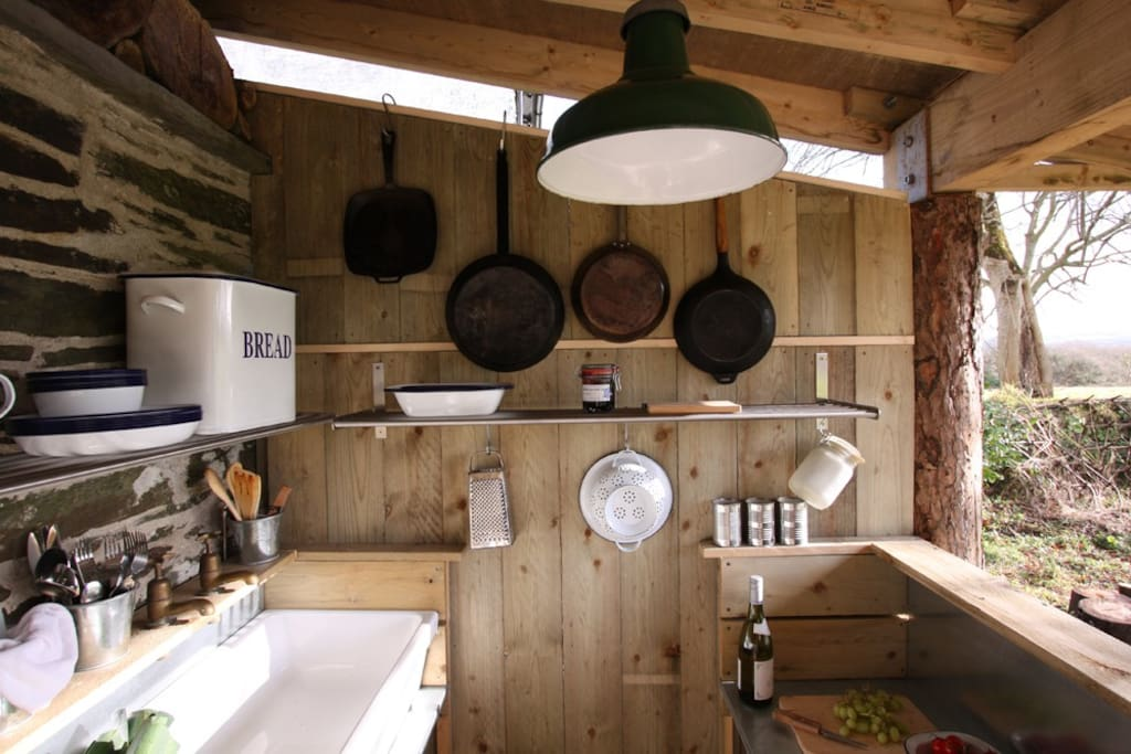 The outdoor kitchen area with the basics provided.