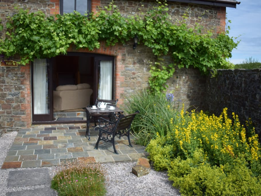 The Seating Area Outside Vine Cottage from the Inner Courtyard