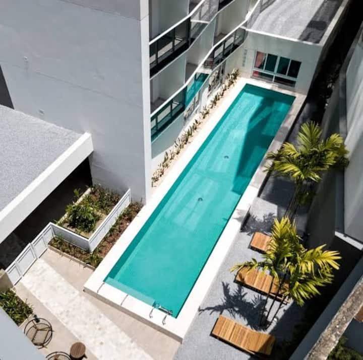 Apartamento, piscina e academia abertas, 15