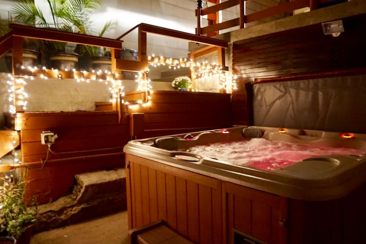 Jacuzzi area at night