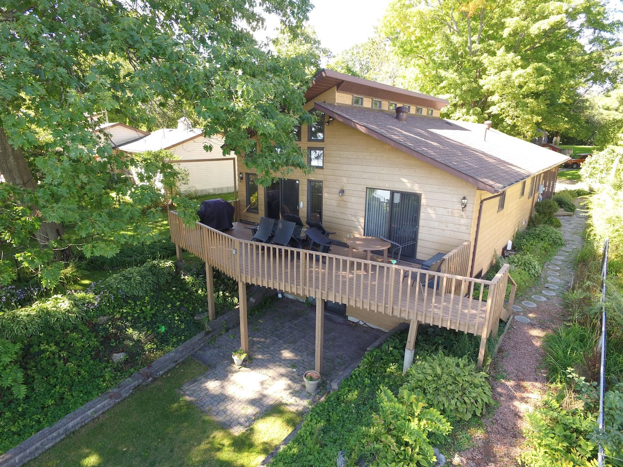 Overhead shot of the back of the house