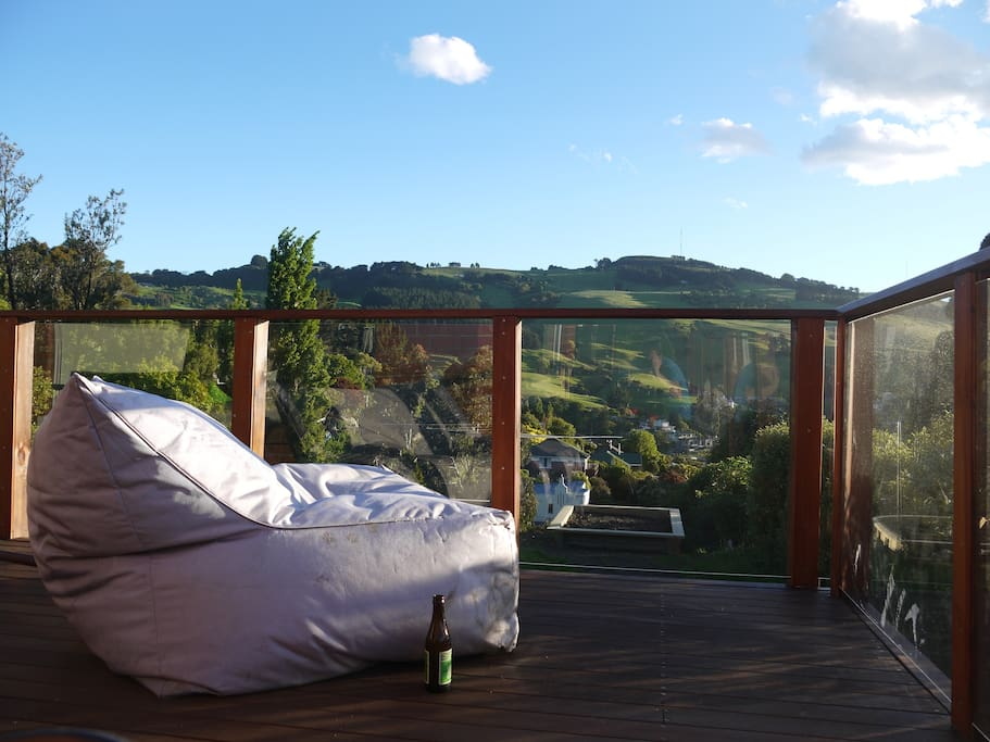Our favourite relaxing spot.. you can count sheep on green paddocks.