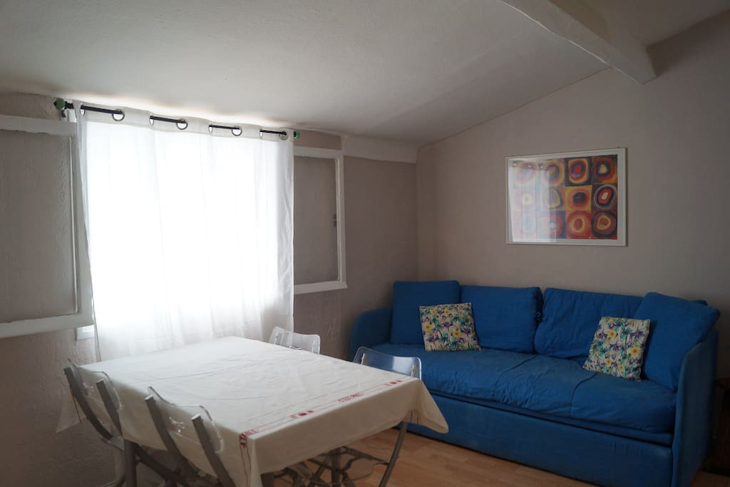 living room with couch converts to 2 single bed