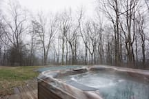 The shared hot tub is open year round.