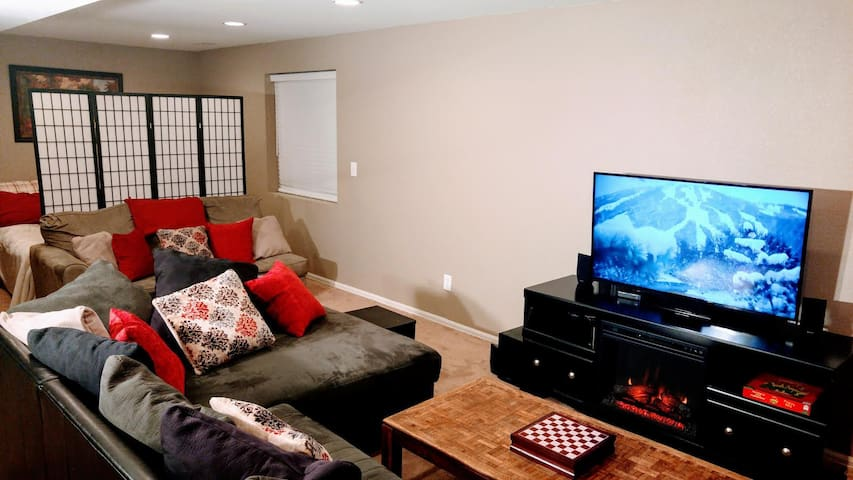 The most comfortable couch in the world! This is where most folks actually crash. Large flat screen and fireplace. Cable TV. Amazon. Netflix.