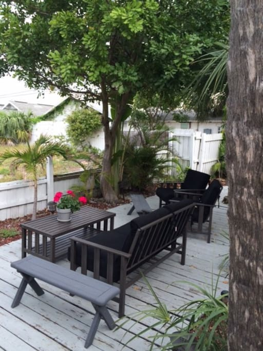 Comfortable & casual seating with Gulf view of beach & sunsets.