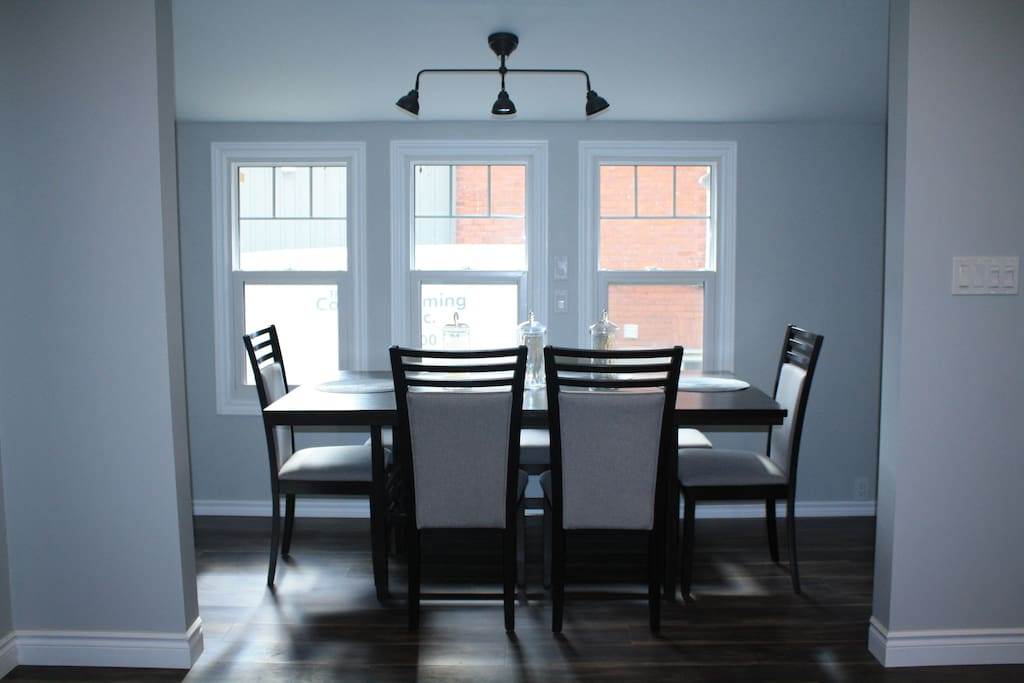Dining room offers full seating for 6.