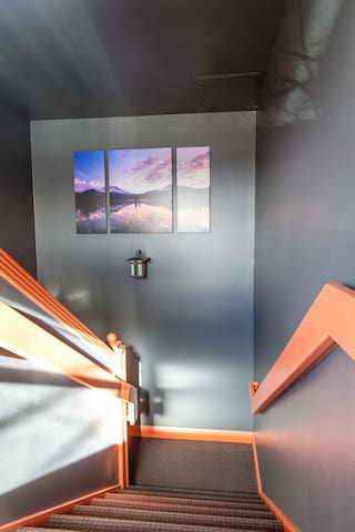 Stairway up to loft