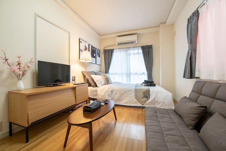 5 min to Asakusa/Cozy room/4ppl/PocketWiFi#202