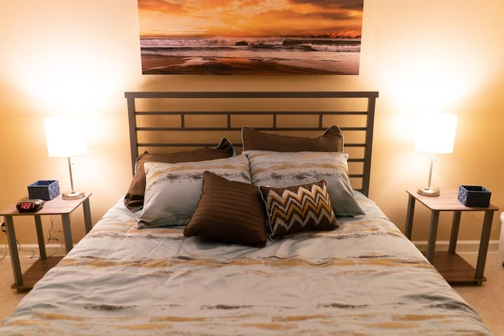 Cozy queen master bedroom. We change out bedspreads to a freshly washed soft blanket to maintain cleanliness.